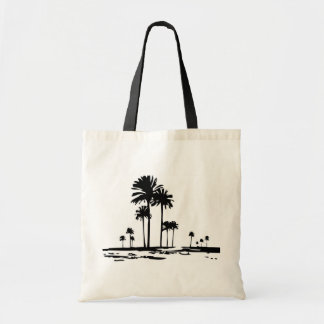 Palm tree silhouette tote bag
