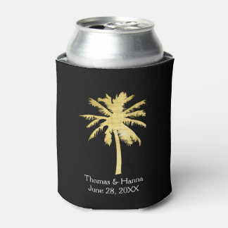Palm Tree Silhouette Wedding Can Cooler