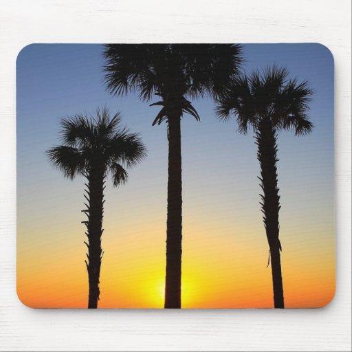 Palm Tree Silhouettes at Sunset Sunrise Mousepad