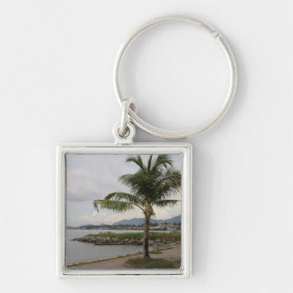 Palm tree Silver-Colored square key ring
