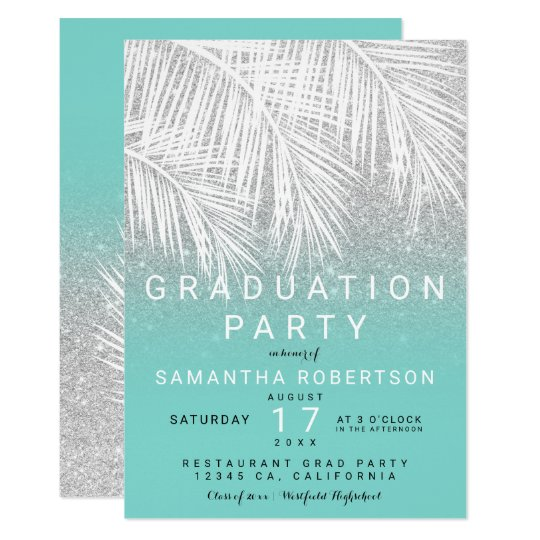 Palm tree silver turquoise graduation party card
