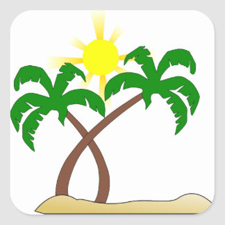 Palm Tree Square Stickers