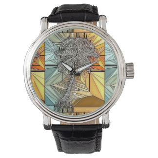 Palm Tree Stained Glass Style Watch