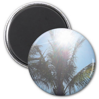 Palm Tree Summer Day 6 Cm Round Magnet