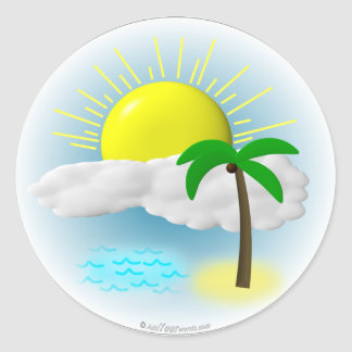 Palm Tree, Sun and Beach Round Sticker