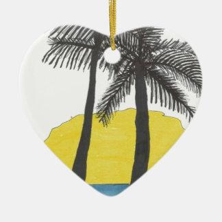Palm Tree Sunrise Ceramic Heart Decoration