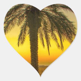 Palm Tree Sunrise Heart Sticker