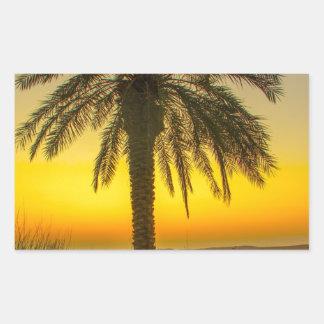 Palm Tree Sunrise Rectangular Sticker