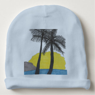 Palm Tree Sunrise Silhouette Baby Beanie