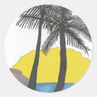 Palm Tree Sunrise Silhouette Round Sticker