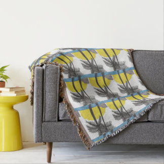 Palm Tree Sunrise Silhouette Throw Blanket