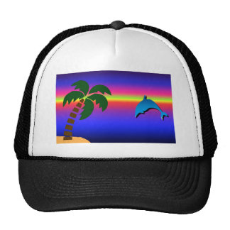 Palm Tree Sunset and Dolphin Hat