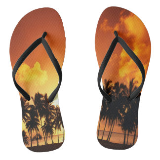 Palm Tree Sunset Beach Flip Flops Thongs