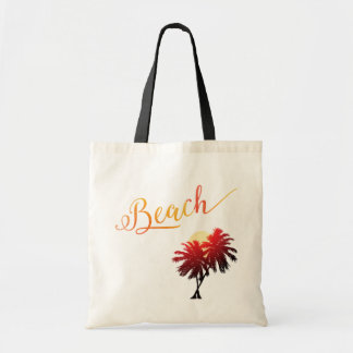 Palm Tree Sunset Beach Tropical Vacation Tote Bag