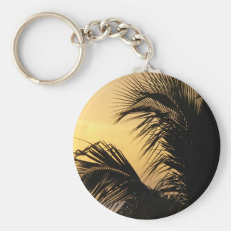 Palm Tree Sunset keyring Basic Round Button Key Ring