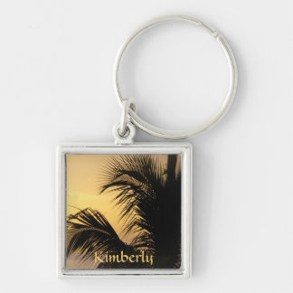 Palm Tree Sunset keyring Silver-Colored Square Key Ring