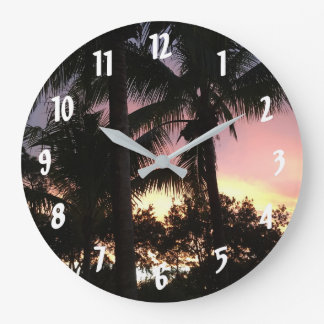 Palm Tree Sunset Large Clock