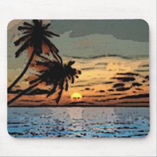 Palm tree sunset mouse pad