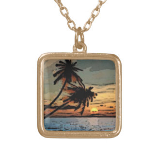 Palm tree sunset personalized necklace