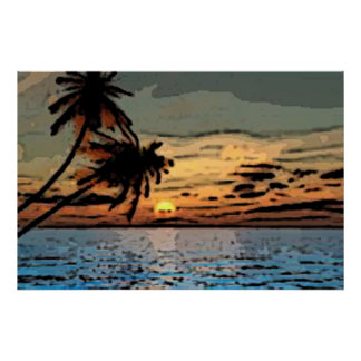 Palm tree sunset posters