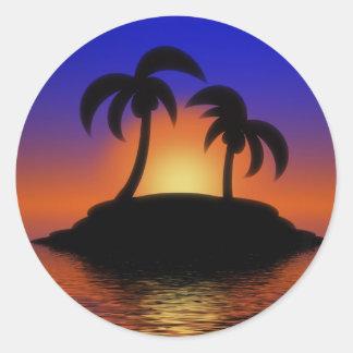 Palm Tree Sunset Round Sticker