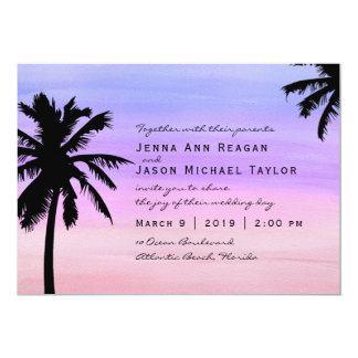Palm Tree Sunset Watercolor Wedding Invitation