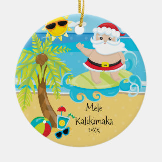 Palm Tree Surfing Santa Hawaiian Christmas Ceramic Ornament
