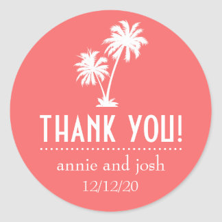 Palm Tree Thank You Labels (Coral) Round Sticker