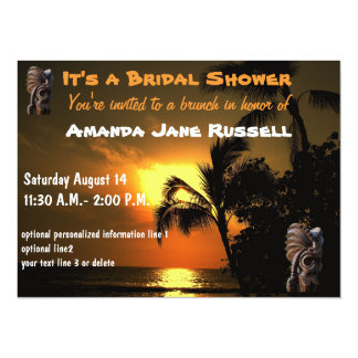 Palm Tree Tiki Bridal Shower Brunch Card