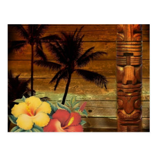 Palm Tree totem tropical Floral hibiscus Hawaiian Postcard