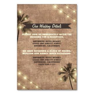 Palm Tree Vintage Beach Wedding Enclosure Cards Table Cards