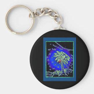Palm tree w/ blue background key chain