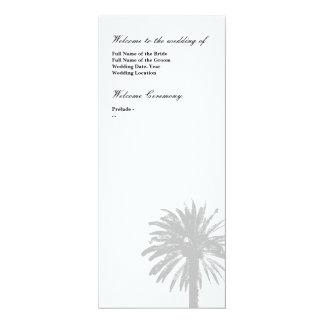 Palm tree wedding program template 10 cm x 24 cm invitation card