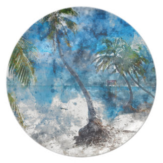 Palm Tree with Swing in Watercolor Plate
