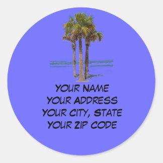 Palm Trees Address label Round Sticker