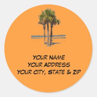 Palm Trees Address label Stickers