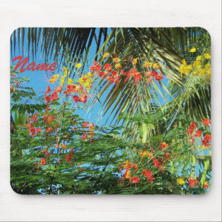 Palm Trees and Caribbean Flowers! Mouse Pad