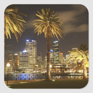Palm Trees and CBD at Night, Sydney, New South Square Sticker
