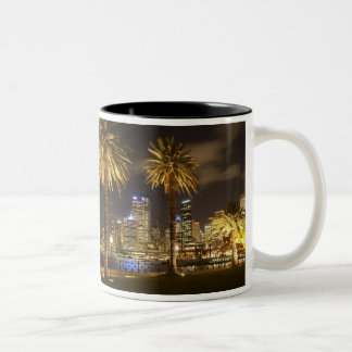 Palm Trees and CBD at Night, Sydney, New South Two-Tone Mug