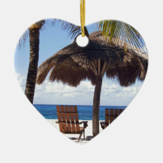 Palm Trees and chairs Mexico Beach Ceramic Heart Decoration