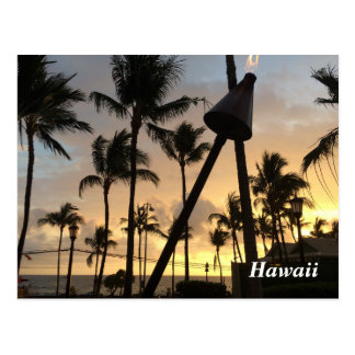 Palm Trees and Hawaiian Sunset Postcard