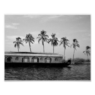 Palm trees and houseboat poster