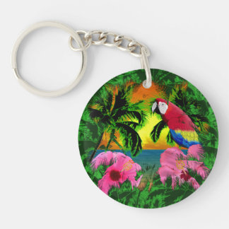 Palm Trees And Island Sunsets Key Chain