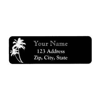 Palm trees and name return address black white return address label