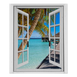 Palm Trees and Ocean View Faux Window Poster