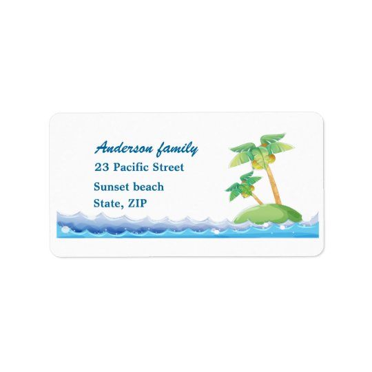 Palm trees and ocean waves Avery Label