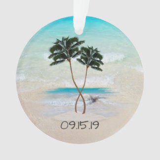 Palm Trees and Ocean Wedding Favor Ornament