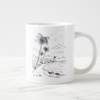 Palm Trees and Sandpiper Beach Life Large Coffee Mug