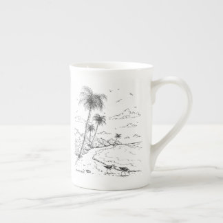 Palm Trees and Sandpiper Beach Life Tea Cup