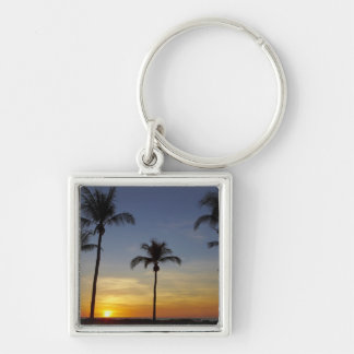 Palm trees and sunset, Mindil Beach Silver-Colored Square Key Ring
